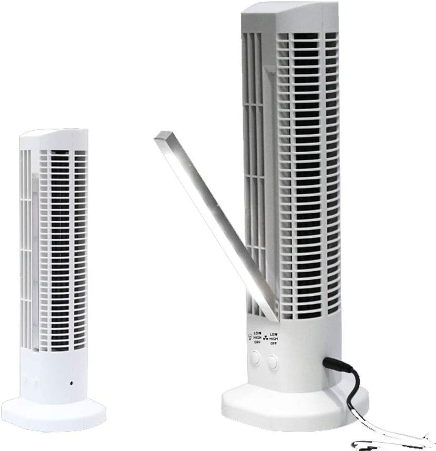 KONGZIR  Air Cooler Small Fan USB Handheld Mini Air Conditioning Folding Leafless Fan LED Shrinking Tower Lighthouse Fan Color : White, Size : 6x10.5x30cm