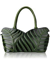 Designer Leaf Purse Genuine Leather Top Handle Bag Shoulder Handbags