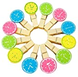 Freedi 12 Pcs Mini Wooden Clamps Round Dial Clothespins Photo Paper Peg Pin Craft Clip+Jute Cord Party Décor(Style A)