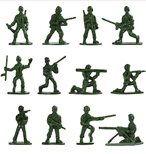 HAPTIME 100 Pcs Various Pose Toy Soldiers Figures, Army Men Green Soldiers, Toy Soldiers Action Figures for Kids Children