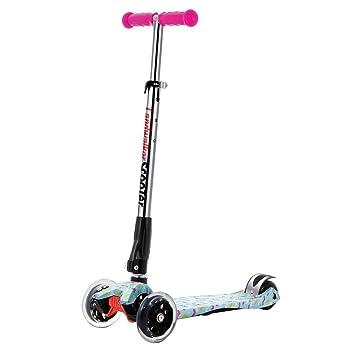 ENKNIGHT Patinete plegable para niños con 3 ruedas y ruedas de poliuretano con luz LED (campana y molinillo de viento), Infantil, Blue1