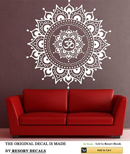 Mandala Wall Decal Mandala Decal Yoga Om Namaste Yoga Decor Wall Vinyl Decal Lotus Interior Home Decor Meditation Mandala Wall Art Wall TT2644