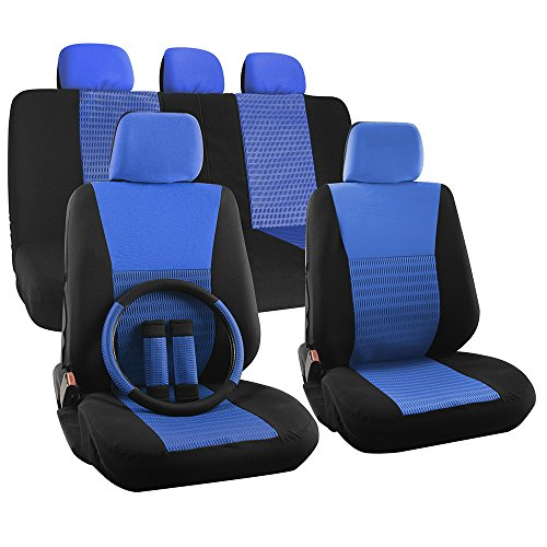 OxGord 17pc Set Flat Cloth Mesh Blue & Black Wide Stripe Seat Covers Set - Airbag Compatible - Front Low Back Buckets - 50/50 or 60/40 Rear Split Bench - 5 Head Rests - Universal Fit for Car, Truck, Suv, or Van - FREE Steering Wheel Cover (2015 Tacoma Steering Wheel Cover compare prices)