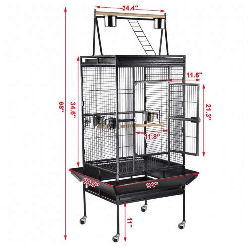 Unbranded* 68'' Bird Cage Large Play Top Parrot Finch Cage Macaw Cockatoo Pet Supply by Unbranded*