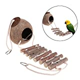 PanDaDa Pet Bird Nest Natural Coconut Small Animals Nest with Ladder Indoor and Outdoor Hanging Nest