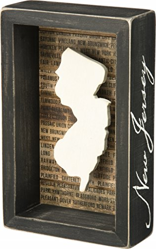 New Jersey State Shape Box Sign Primitives by Kathy (State Themed Gifts)