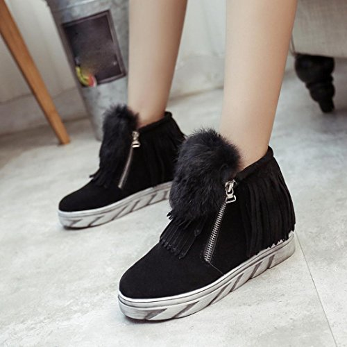 nieve de invierno flecos Ouneed mujeres plano Las botas impermeable Negro de de ® cálidas tobillo PxS81H
