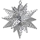Moravian Star Light, Flower Pierced Tin, Silver, 12''