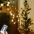 33ft 100LED Bedroom Decor LED Globe String Lights Battery Powered w/Remote Timer Outdoor/Indoor Ambient Lighting for Christmas Decor, Birthday Party, Living Room (Warm White,Dimmable)