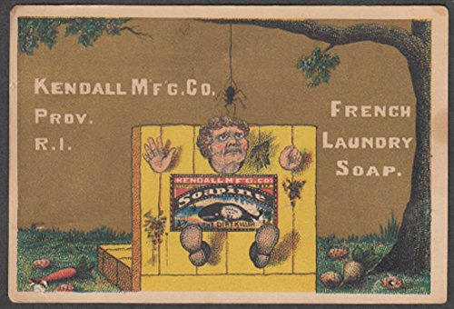 Kendall Soapine Laundry Soap trade card 1880s spider worries man in the -