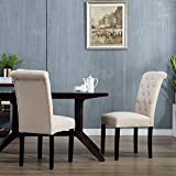 DAGONHIL Stylish Parsons Dining Room Chairs (set of 2)with Solid Wood Legs (Beige) For Sale