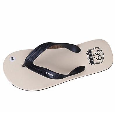 VENMO Chanclas para Hombre,Raya de Verano Flip Flops Zapatos Sandalias (40, Rojo)