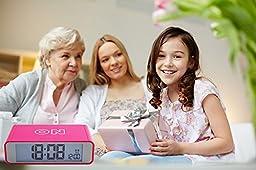 Flip Alarm Clock,FAMICOZY Bedside Travel Alarm Clock for Girls Kids Children Teens,Turn Alarm On/Off by Flip,Repeating Snooze,Soft Sensor Nightlight,12/24h Display,Small Stylish Digital Clock,Hot Pink