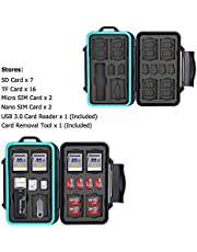 JJC 27 Slots Professional Water-Resistant Memory Card Case Holder with USB 3.0 Card Reader for 7 SD/SDHC/SDXC + 16 Micro SD/MSD/TF + 2 Micro Sim + 2 Nano Sim, with Carabiner & Card Removal Pin Tool