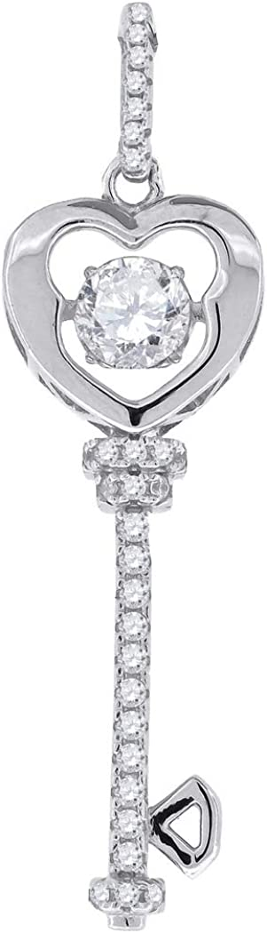 925 Sterling Silver Womens Sparkling CZ In Love Heart Key Pendant Necklace Charm Measures 41.7x11.5mm Wide Jewelry Gifts for Women