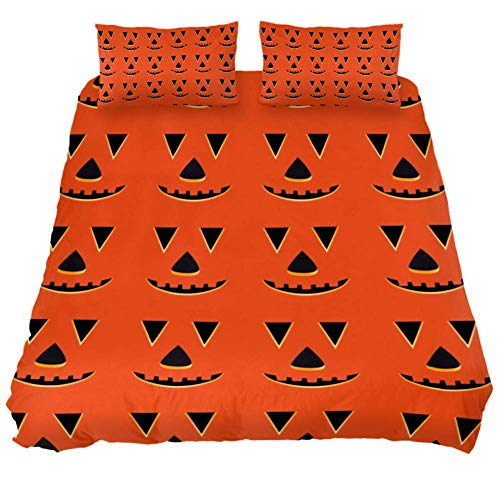 LORVIES Halloween Pumpkin Faces Pattern Duvet Cover Sets, Decorative 3 Piece Bedding Sets with Pillow Shams for Men Women Boys Girls Kids Teens -