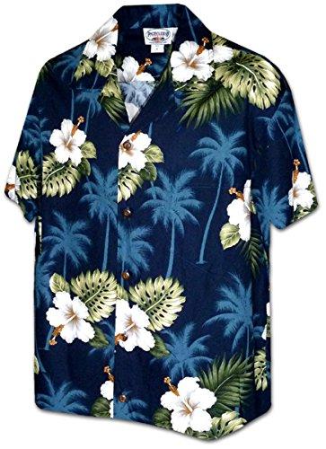 Pacific Legend Men's Hibiscus & Palm Hawaiian Shirt (XL, ()