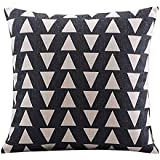 CoolDream Cotton Linen Decorative Pillowcase Throw Pillow Cushion Cover Square 18 Retro Black Up & Down Triangle