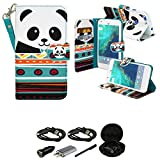 Mstechcorp PU Leather Flip Card Slots Stand Wallet Case with Accessories for Google Pixel, Panda