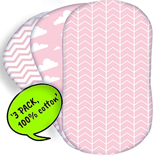 Bear's Little Fish 3-Pack of Bassinet Sheets | 100% Hypoallergenic Jersey Cotton | Pink and White Patterns for Baby Boy or Girl | Fitted Crib Sheets for Oval, Rectangle and Hourglass Mattress