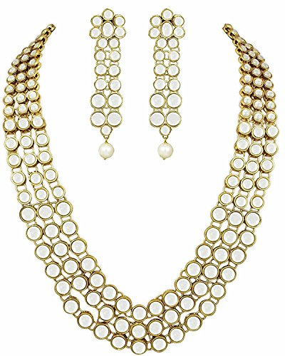 I Jewels Gold Plated Kundan Necklace Jewellery Set for Women IJ301W (White) (Kundan Jewelry)