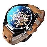 GLEIM Mens Skeleton Automatic Mechanical Wrist Watch Analog Casual Brown Leather Clock