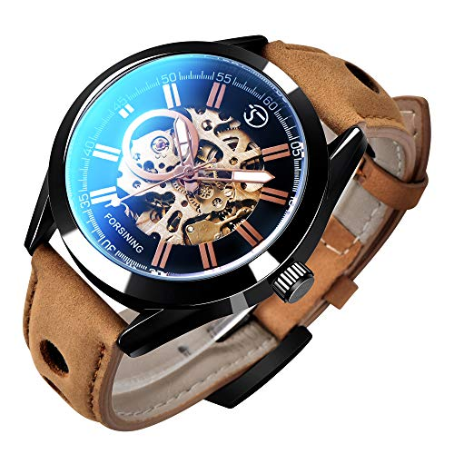 GLEIM Mens Skeleton Automatic Mechanical Wrist Watch Analog Casual Brown Leather Clock ()