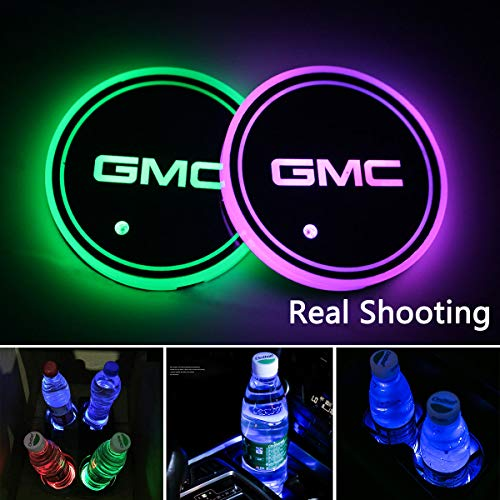2pcs LED Car Logo Cup Holder Lights for GMC, 7 Colors Changing USB Charging Mat Luminescent Cup Pad, LED Interior Atmosphere Lamp Decoration Light. (GMC) ()