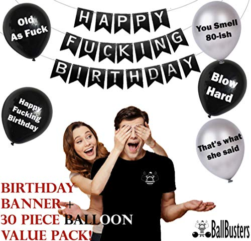 30 pc Funny Adult Birthday Balloons | Gag Gift for a Man Birthday~ Designed by BallBusters, a USA Company (Black & Silver Balloons + Birthday Banner) for $<!--$20.99-->