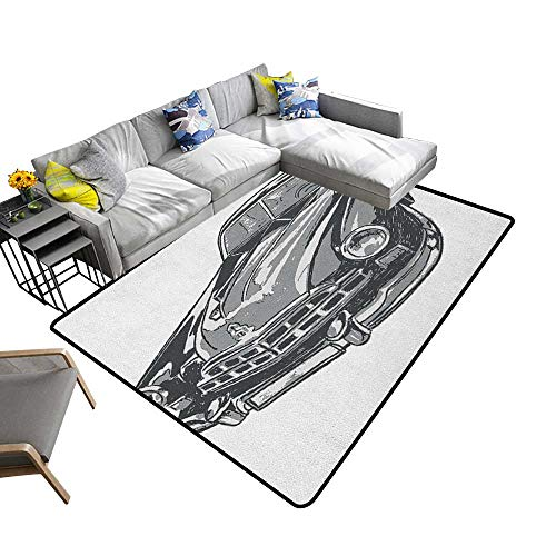 Cars Decorative Floor mat Hand Drawn Vintage Vehicle with Detailed Front Part Hood Lamps Rear View Mirror 70
