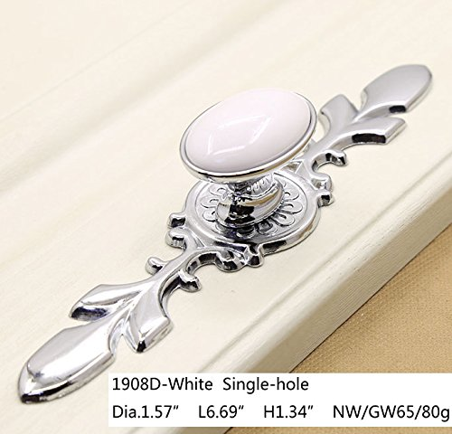 KFZ White Ceramic Door Handles Kitchen Cabinet Pull Drawer Knobs Gate Handles HAO17961904 Furniture Hardware Silver/Glossy Chrome Finish Base 1PC (1908D-White)