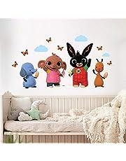 B_R0007 Muurtattoo met stofeffect, Bing Cartoon, Flop Amma Pando Pad, decoratie voor kinderkamer