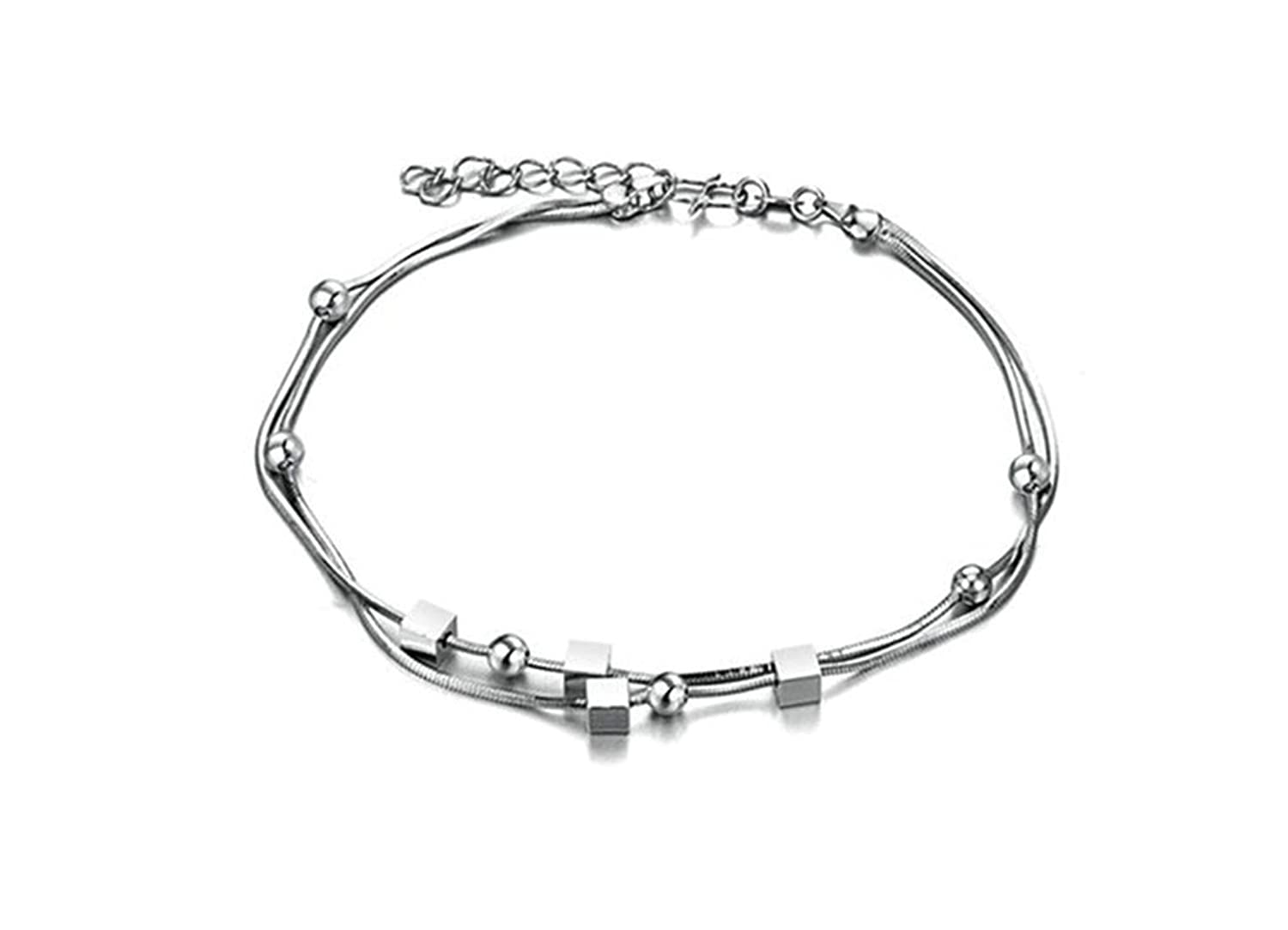 Epinki Jewelry Silver Plated Women Anklet Pendant Rectangle Bell Sandal Jewelry Beach Foot Chain Silver