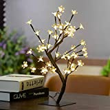 AUA Artificial Christmas Tree Lights - Christmas Lights Battery Operated Small Christmas Tree With Lights 17.7inch Warm White 48 led christmas tree lights for Christmas Table Decorations