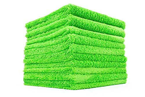 THE RAG COMPANY (10-Pack) 16 in. x 16 in. Professional Edgeless 70/30 Blend 420 GSM Dual-Pile Plush Microfiber Auto Detailing Towels Creature Edgeless (Lime Green)