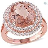 Women Fashion Jewelry 18K Rose Gold Filled Morganite Gemstone Wedding Ring New (7)