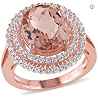 Women Fashion Jewelry 18K Rose Gold Filled Morganite Gemstone Wedding Ring New (6)