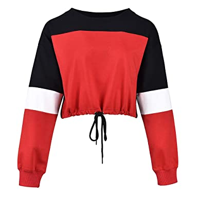 5a8df2c3ccd10 HUILAN Women s Long Sleeve Colorblock Drawstring Hem Crop Top Pullover  Sweatshirt at Amazon Women s Clothing store