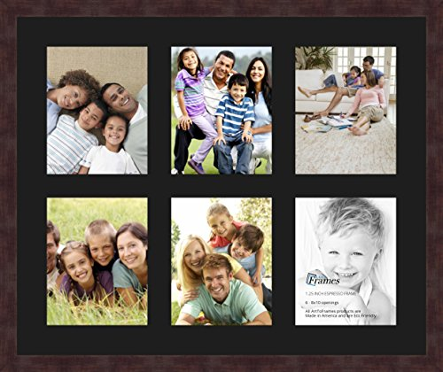 Art to Frames Double-Multimat-1055-89/89-FRBW26061 Collage Frame Photo Mat Double Mat with 6-8x10 Openings and Espresso Frame