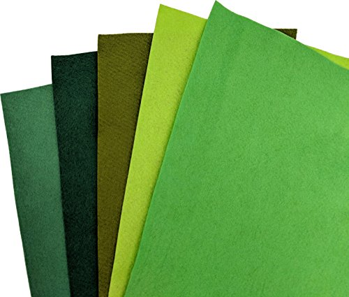 Green Wool Felt 5 Piece Multi-Pack for Crafting - 35% Wool Blend - 5 9x12 inch - Salad Chartreuse