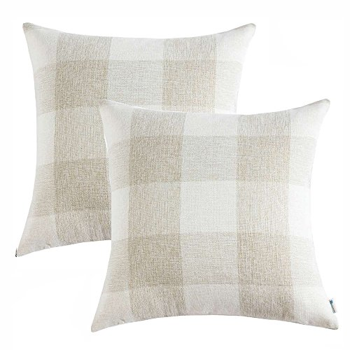 Anickal Set of 2 Farmhouse Decorative Throw Pillow Covers Beige and White Buffalo Check Pillow Covers 18 x 18