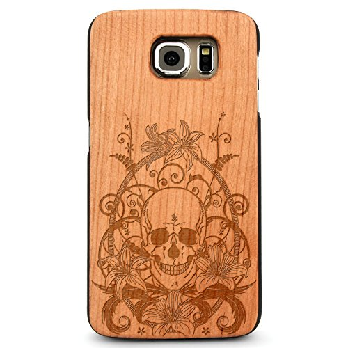 JewelryVolt Wooden Phone Case for Galaxy S6 Edge Cherry Wood Laser Engraved Spiritual Floral Skull