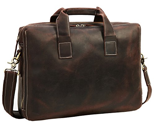 Men's Messenger Bag Iswee Vintage Leather Briefcase Satchel HandBag fit 14'' Laptop Shoulder Bag by Iswee