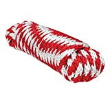 Extreme Max 3008.0145 Red / White 1/4'' x 10' Solid Braid MFP Utility Rope