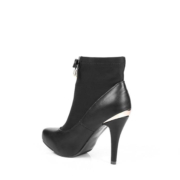 Ideal Shoes - Scarponcini bi-materiale con parte elastico e piano cottura  métalisée all' posteriore Nadina: Amazon.it: Scarpe e borse