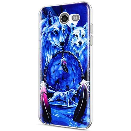 Galaxy J3 2017 Case,Galaxy J3 Emerge/J3 Prime/J3 Mission/J3 Eclipse/J3 Luna Pro/Sol 2/Amp Prime 2 Clear Case,ikasus Thin Soft Back Cover Crystal Clear TPU Silicone Rubber Back Case,Wolf Dreamcatcher