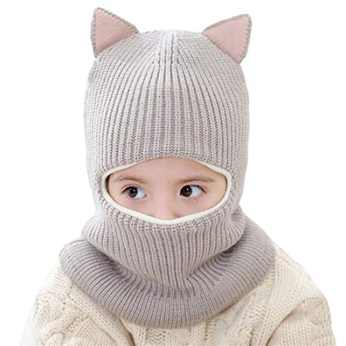 Kids Winter Hat, Baby Knit Hat, Baby Girls Boys Winter Hat, Thick Scarf Earflap Hood Scarves Skull Caps, 1-4 Years (Cat Grey)