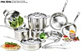 mockins 15 Piece Premium Grade Stainless Steel Cookware Set – The 15 Piece Pots And Pans And Cooking Utensils Set Has a Tri Ply Body With a Pure Aluminum Core To Fill All Your Cooking Needs …