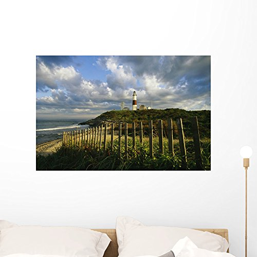 Lighthouse Montauk with Dramatic Wall Mural by Wallmonkeys Peel and Stick Graphic (36 in W x 24 in H) WM1986 (Mural Lighthouse York Wall)