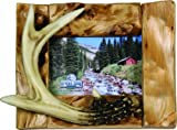 River's Edge Genuine Firwood Horizontal 4 x 6 Picture Frame with Hand Painted Poly Resin Deer Antler Accent